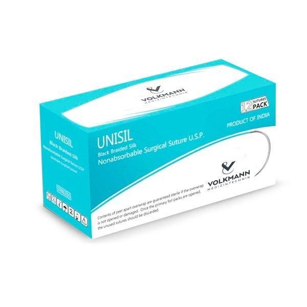 Nicht resorbierbares Nahtmaterial, schwarzer geflochtener chirurgischer Seidenfaden
