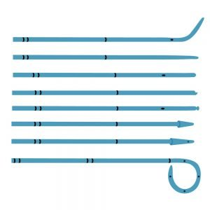 Ureteral Catheters for a standard installation (open type, closed type, curved type, cone type, Chavassieux type for introduction of a radiopaque contrast)